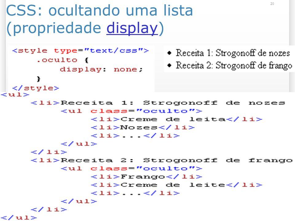 20 CSS: ocultando uma lista (propriedade display)display
