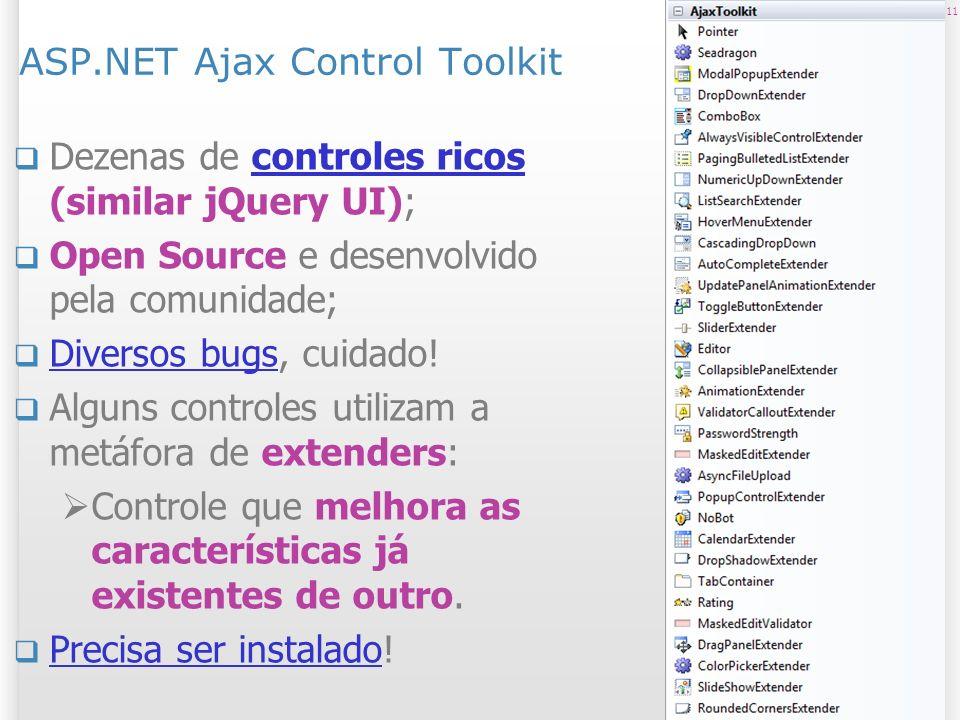 ASP.NET Ajax Control Toolkit Dezenas de controles ricos (similar jQuery UI);controles ricos Open Source e desenvolvido pela comunidade; Diversos bugs, cuidado.