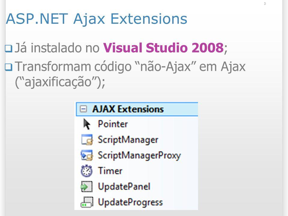 ASP.NET Ajax Extensions Já instalado no Visual Studio 2008; Transformam código não-Ajax em Ajax (ajaxificação); 3