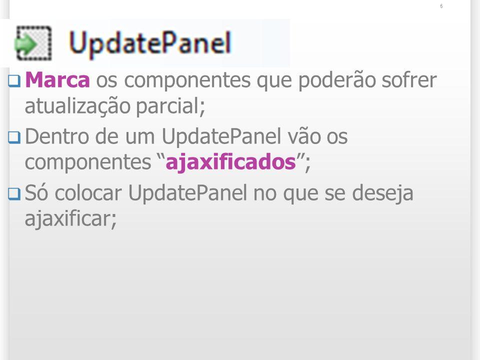 UpdatePanel Marca os componentes que poderão sofrer atualização parcial; Dentro de um UpdatePanel vão os componentes ajaxificados; Só colocar UpdatePanel no que se deseja ajaxificar; 6