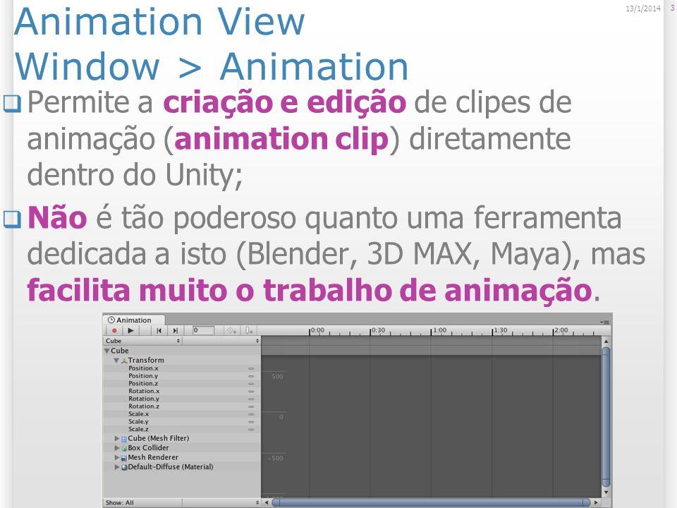 Animation View Window > Animation Permite a criação e edição de clipes de animação (animation clip) diretamente dentro do Unity; Não é tão poderoso qu