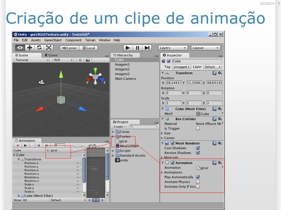 Animando um Game Object Para gravar uma animação, entramos no modo de animação (Animation Mode); Todas as modificações serão gravadas.