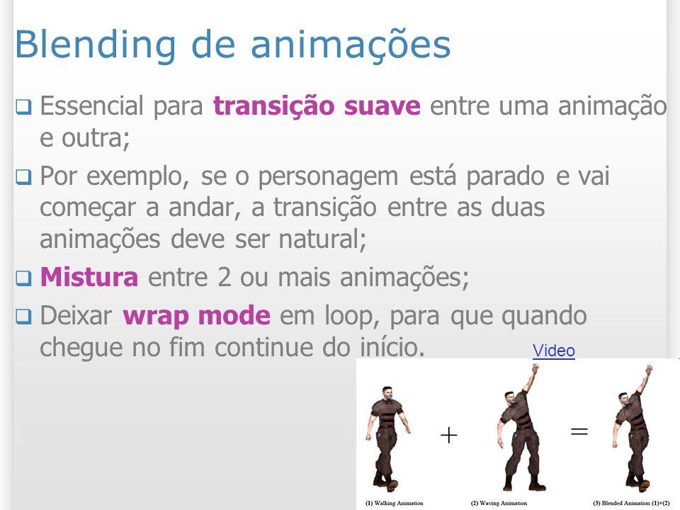 Blending de animações Essencial para transição suave entre uma animação e outra; Por exemplo, se o personagem está parado e vai começar a andar, a tra