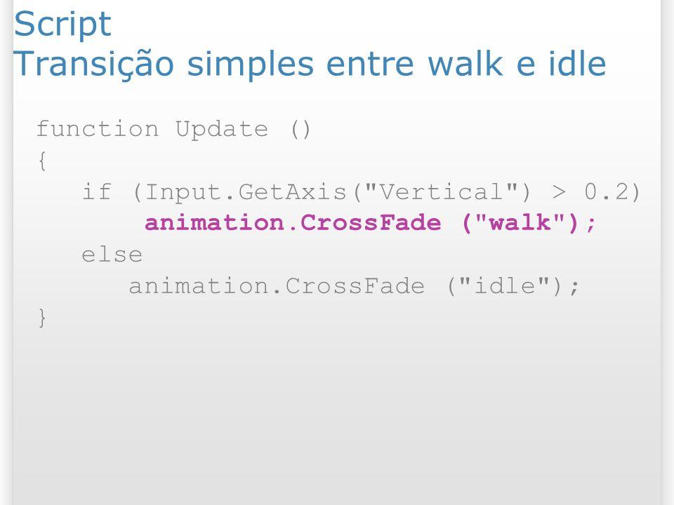 Script Transição simples entre walk e idle function Update () { if (Input.GetAxis(