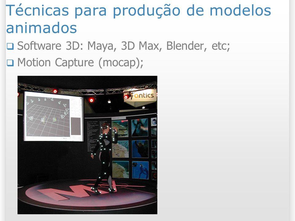 Técnicas para produção de modelos animados Software 3D: Maya, 3D Max, Blender, etc; Motion Capture (mocap);
