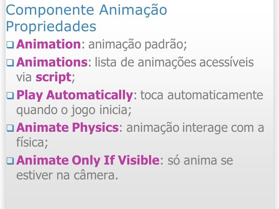 Componente Animação Propriedades Animation: animação padrão; Animations: lista de animações acessíveis via script; Play Automatically: toca automatica