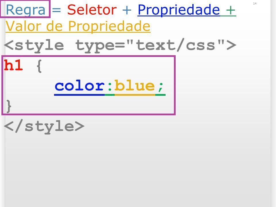 Regra = Seletor + Propriedade + Valor de Propriedade h1 { color:blue; } 14