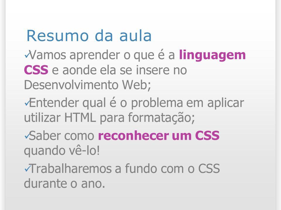 23 Material referente ao assunto da aula Tutorial sobre regras CSS: http://maujor.com/tutorial/sintaxetut.php Recomendação W3C do CSS 1.0: http://www.maujor.com/tutorialcss1/css1tu t.shtml http://www.maujor.com/tutorialcss1/css1tu t.shtml