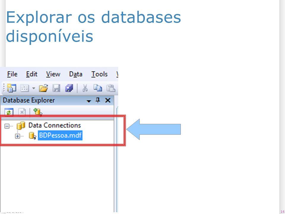 Explorar os databases disponíveis 1613/1/2014