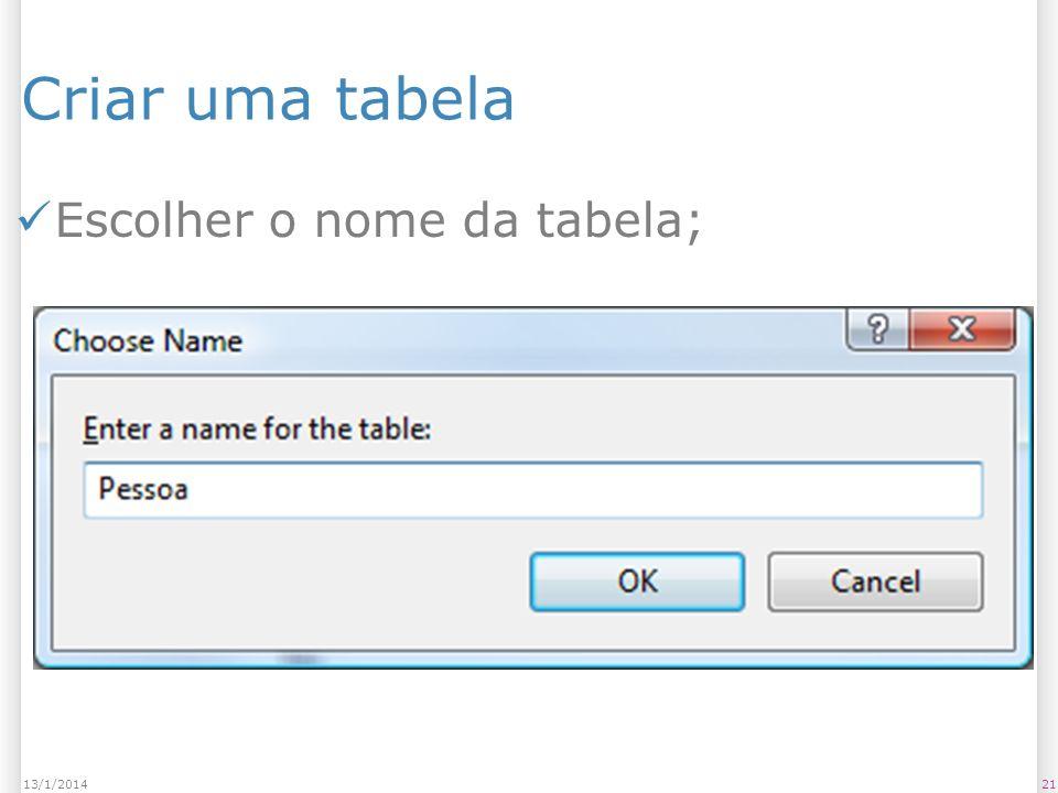 Criar uma tabela Escolher o nome da tabela; 2113/1/2014