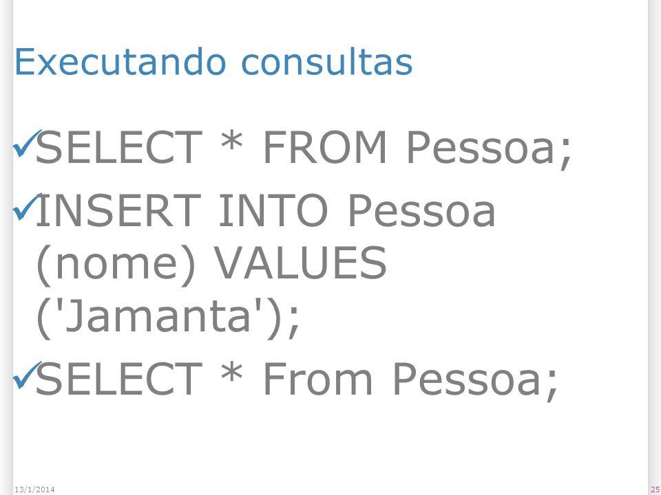 Executando consultas SELECT * FROM Pessoa; INSERT INTO Pessoa (nome) VALUES ( Jamanta ); SELECT * From Pessoa; 2513/1/2014