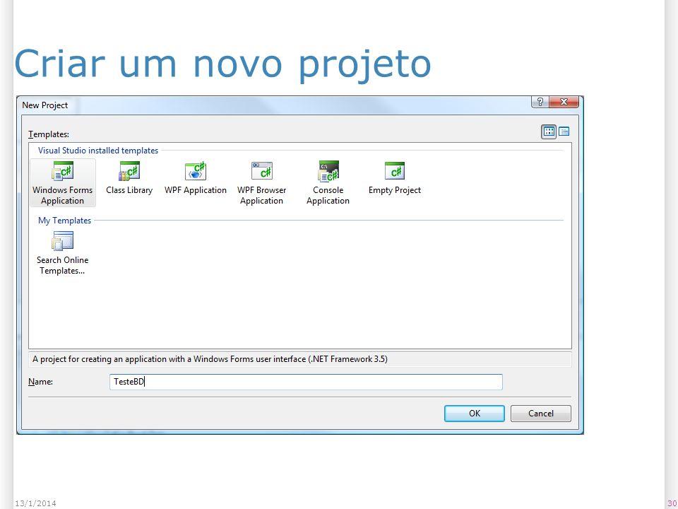 Criar um novo projeto 3013/1/2014