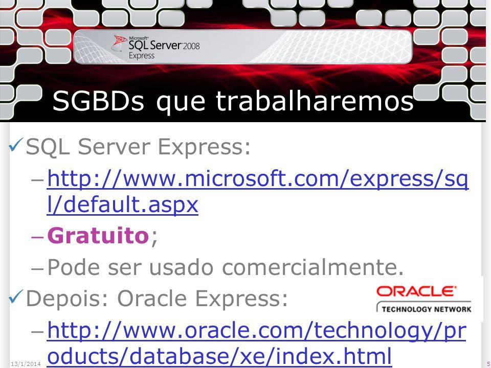 SGBDs que trabalharemos SQL Server Express: – http://www.microsoft.com/express/sq l/default.aspx http://www.microsoft.com/express/sq l/default.aspx – Gratuito; – Pode ser usado comercialmente.