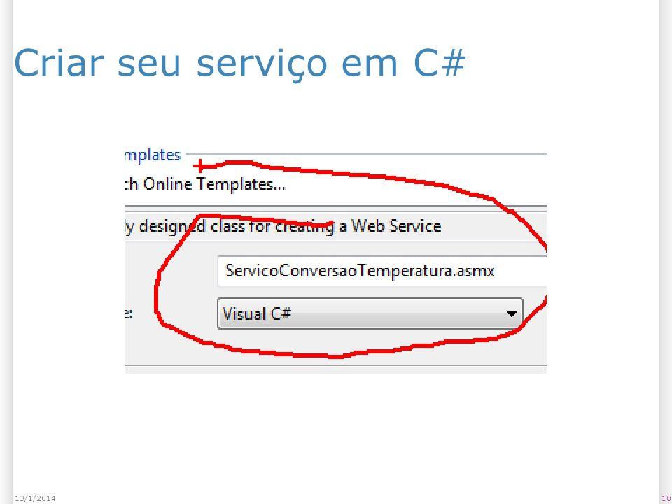 1013/1/2014 Criar seu serviço em C#