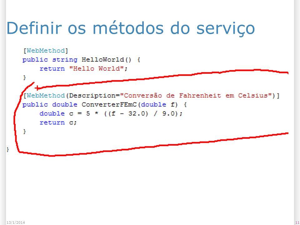 1113/1/2014 Definir os métodos do serviço