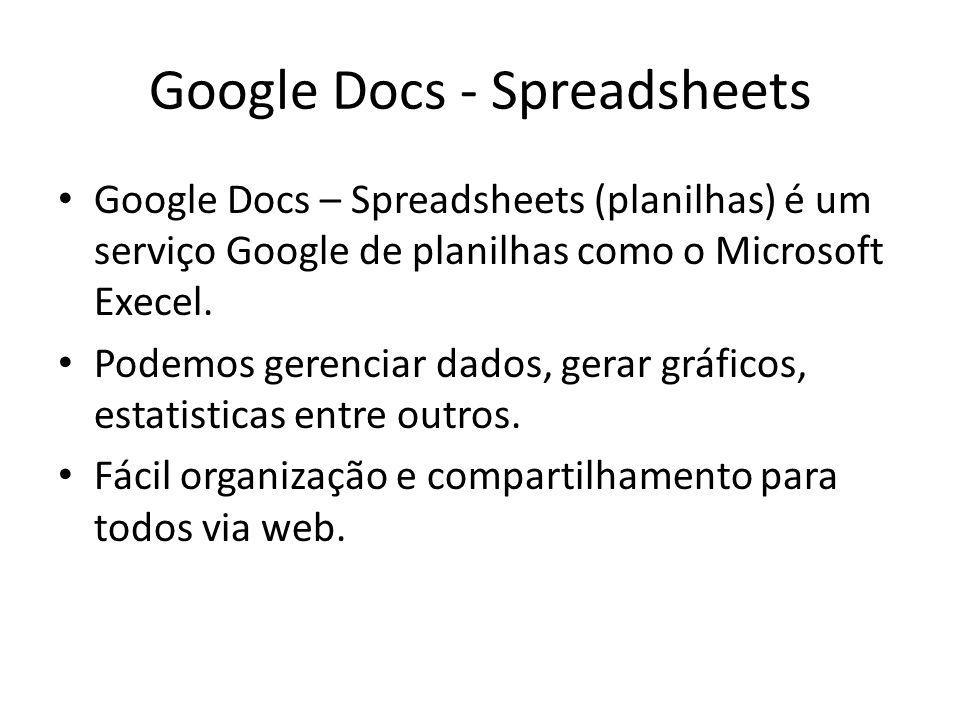 Google Docs - Spreadsheets Google Docs – Spreadsheets (planilhas) é um serviço Google de planilhas como o Microsoft Execel. Podemos gerenciar dados, g