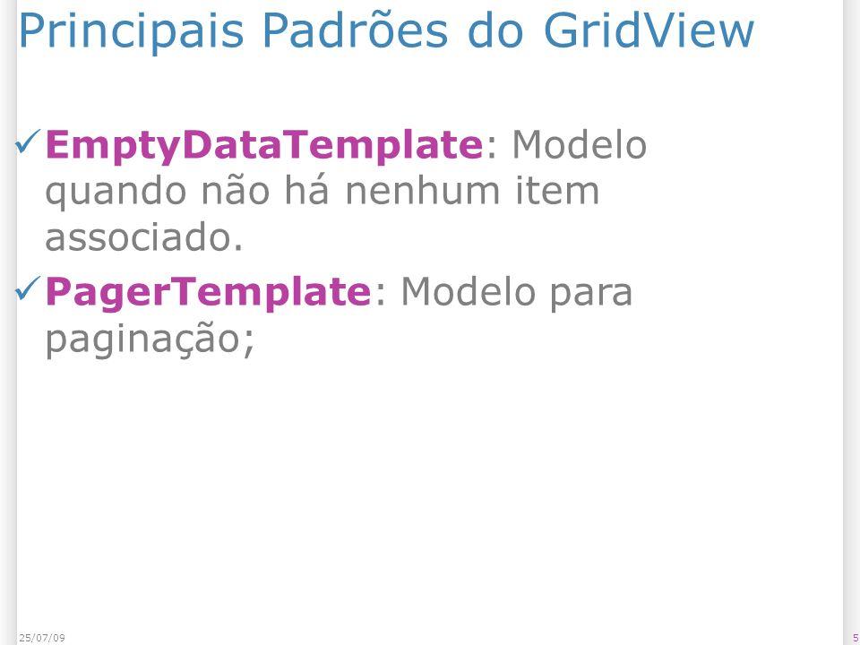 Principais Padrões do GridView EmptyDataTemplate: Modelo quando não há nenhum item associado.