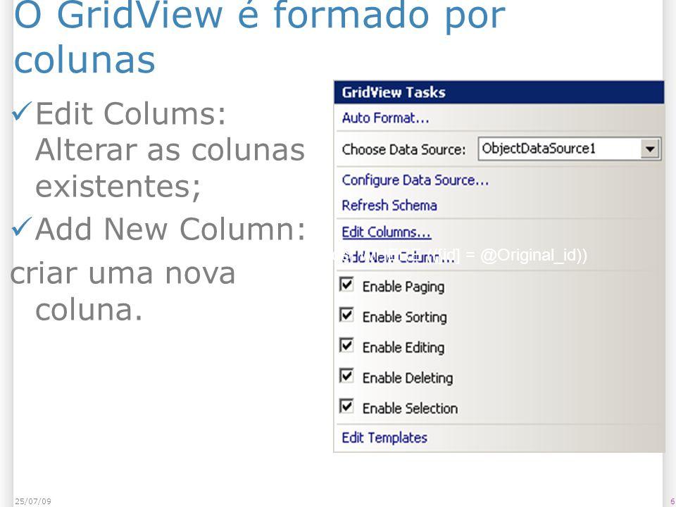 O GridView é formado por colunas Edit Colums: Alterar as colunas existentes; Add New Column: criar uma nova coluna.
