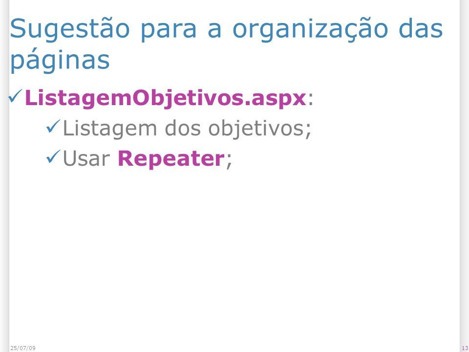 Sugestão para a organização das páginas ListagemObjetivos.aspx: Listagem dos objetivos; Usar Repeater; 1325/07/09