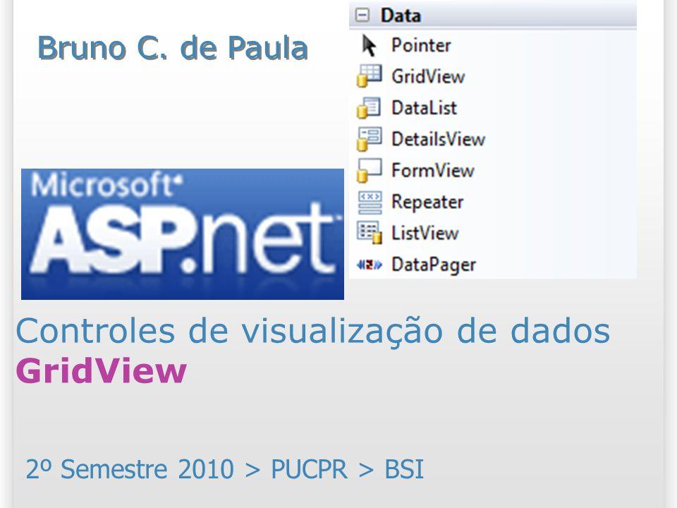 Mais detalhes e passo a passo Excelente artigo sobre o GridView: http://www.linhadecodigo.com.br/arti go/788/ASPNET-20Explorando-o- GridView.aspx http://www.linhadecodigo.com.br/arti go/788/ASPNET-20Explorando-o- GridView.aspx Passo a passo site Microsoft http://www.asp.net/learn/data-access/?lang=cs Verifique o resumo e passo a passo relacionado à aula: – http://www.brunocampagnolo.com/2009_2/aspnet/dal http://www.brunocampagnolo.com/2009_2/aspnet/dal