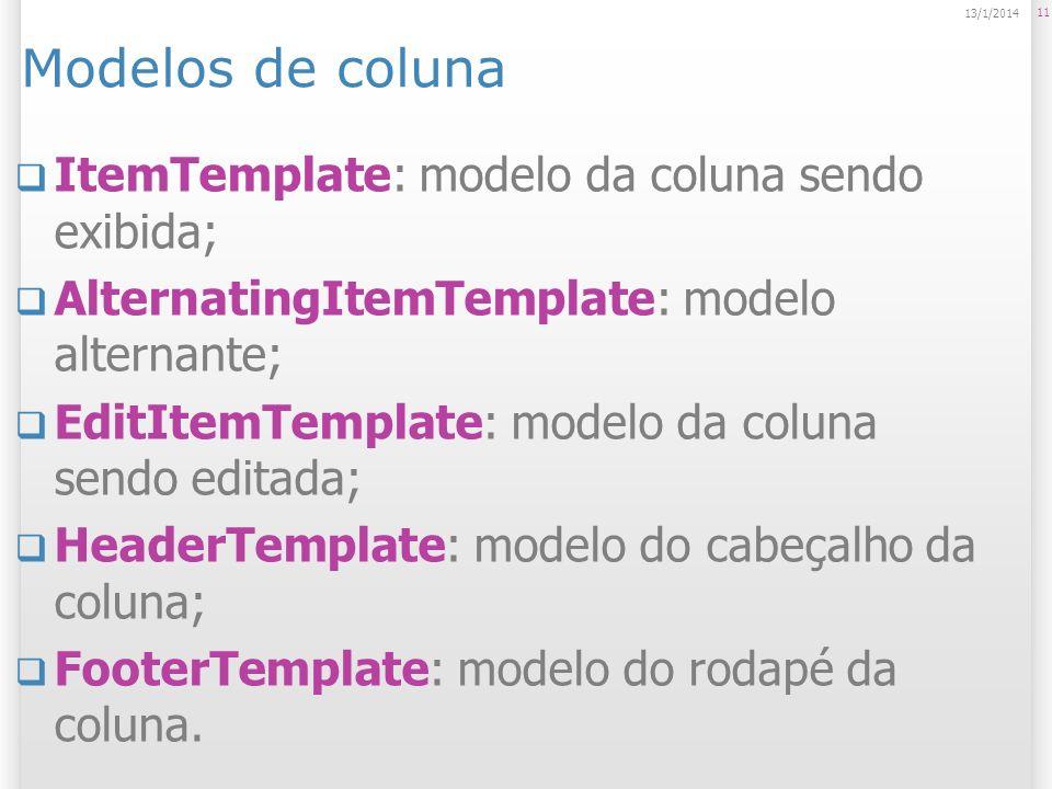 Modelos de coluna ItemTemplate: modelo da coluna sendo exibida; AlternatingItemTemplate: modelo alternante; EditItemTemplate: modelo da coluna sendo e