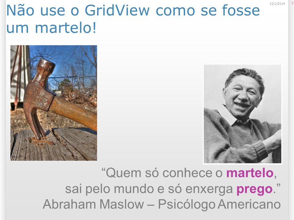 Não use o GridView como se fosse um martelo! 7 13/1/2014 Quem só conhece o martelo, sai pelo mundo e só enxerga prego. Abraham Maslow – Psicólogo Amer