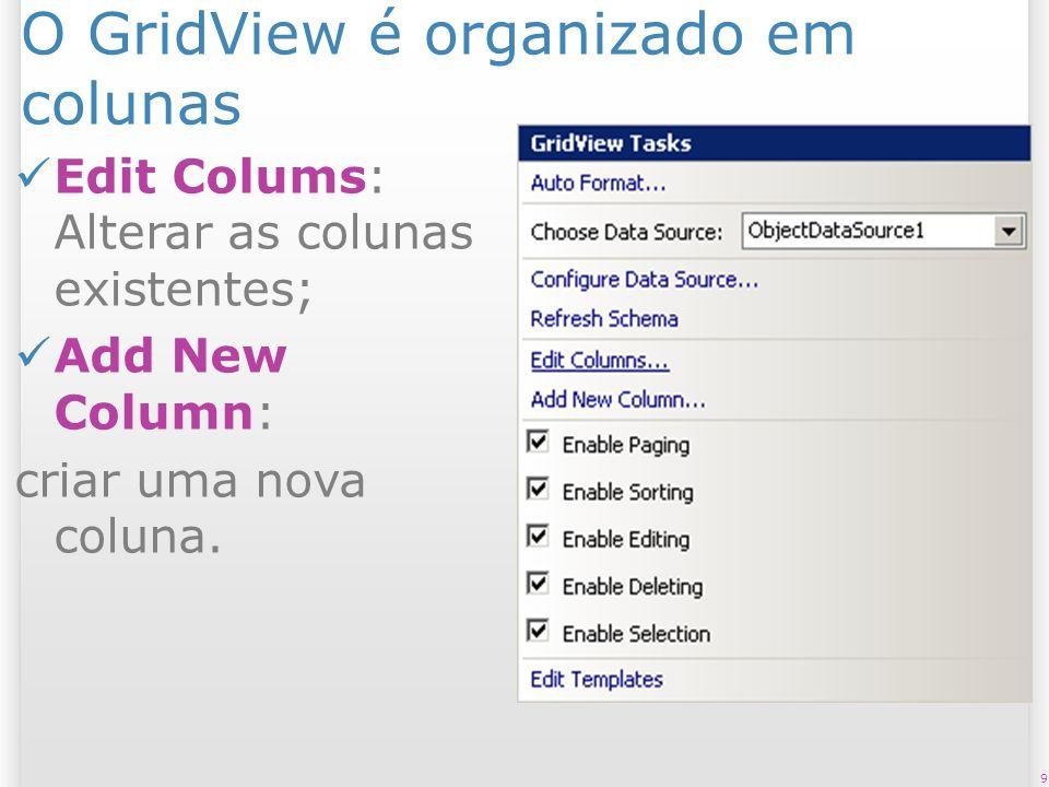 O GridView é organizado em colunas Edit Colums: Alterar as colunas existentes; Add New Column: criar uma nova coluna. 9