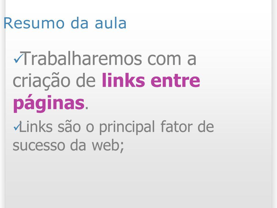 Resumo da aula Trabalharemos com a criação de links entre páginas.