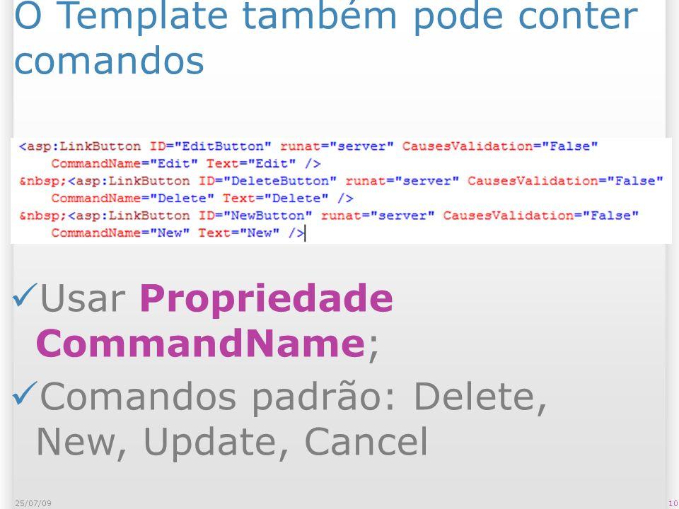 O Template também pode conter comandos 1025/07/09 Usar Propriedade CommandName; Comandos padrão: Delete, New, Update, Cancel