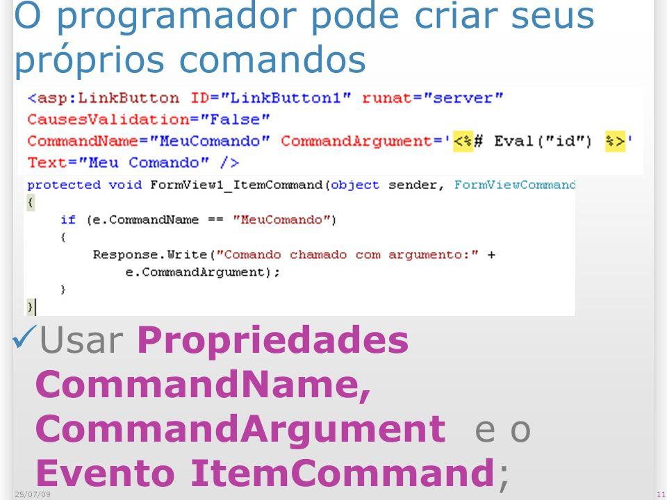 O programador pode criar seus próprios comandos 1125/07/09 Usar Propriedades CommandName, CommandArgument e o Evento ItemCommand;