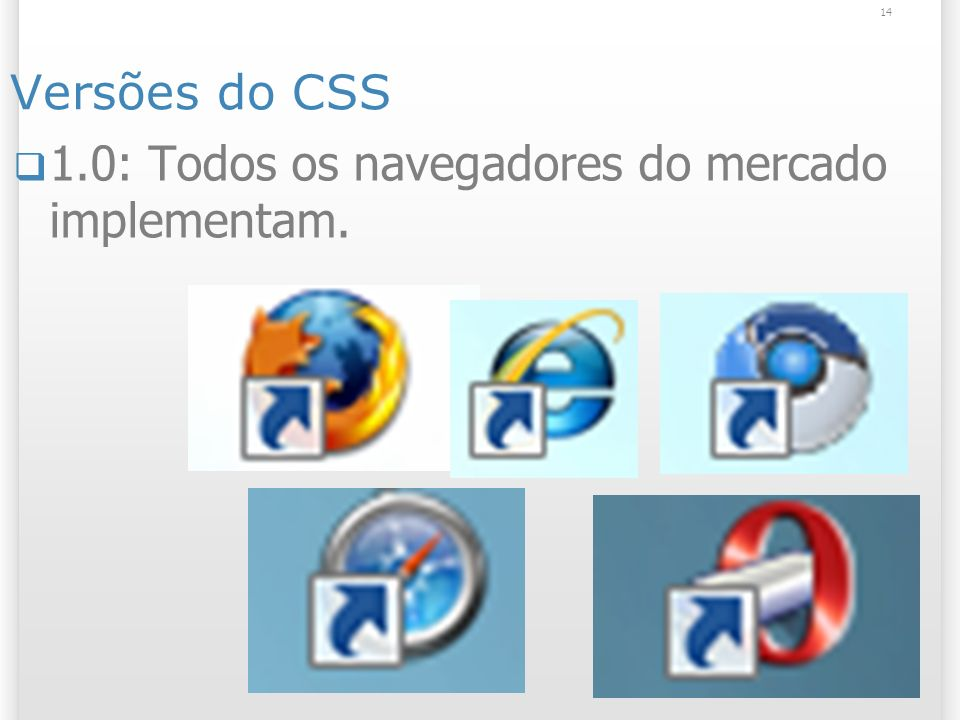 Versões do CSS 1.0: Todos os navegadores do mercado implementam. 14