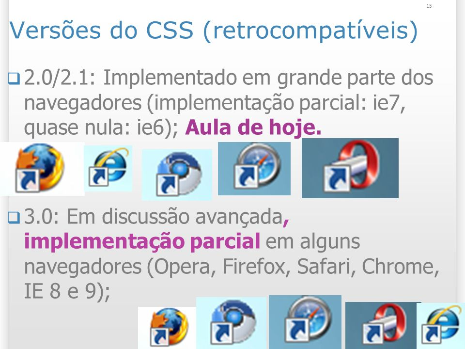Versões do CSS (retrocompatíveis) 2.0/2.1: Implementado em grande parte dos navegadores (implementação parcial: ie7, quase nula: ie6); Aula de hoje.