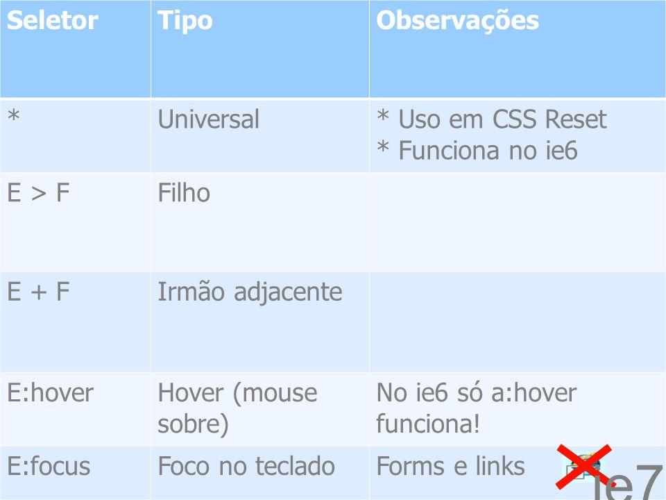 2513/1/2014 SeletorTipoObservações *Universal* Uso em CSS Reset * Funciona no ie6 E > FFilho E + FIrmão adjacente E:hoverHover (mouse sobre) No ie6 só a:hover funciona.