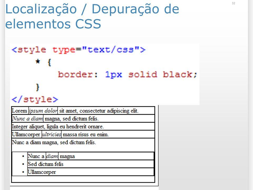Localização / Depuração de elementos CSS 32