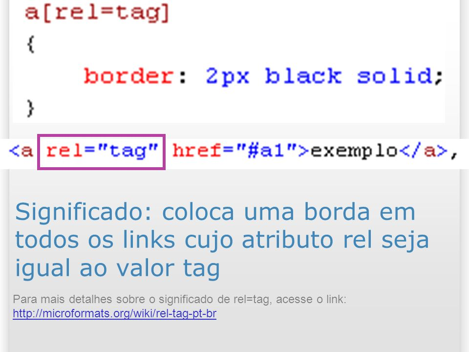 Significado: coloca uma borda em todos os links cujo atributo rel seja igual ao valor tag Para mais detalhes sobre o significado de rel=tag, acesse o link: http://microformats.org/wiki/rel-tag-pt-br