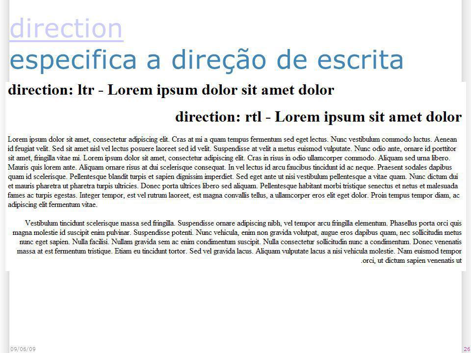 direction direction especifica a direção de escrita 09/06/0926