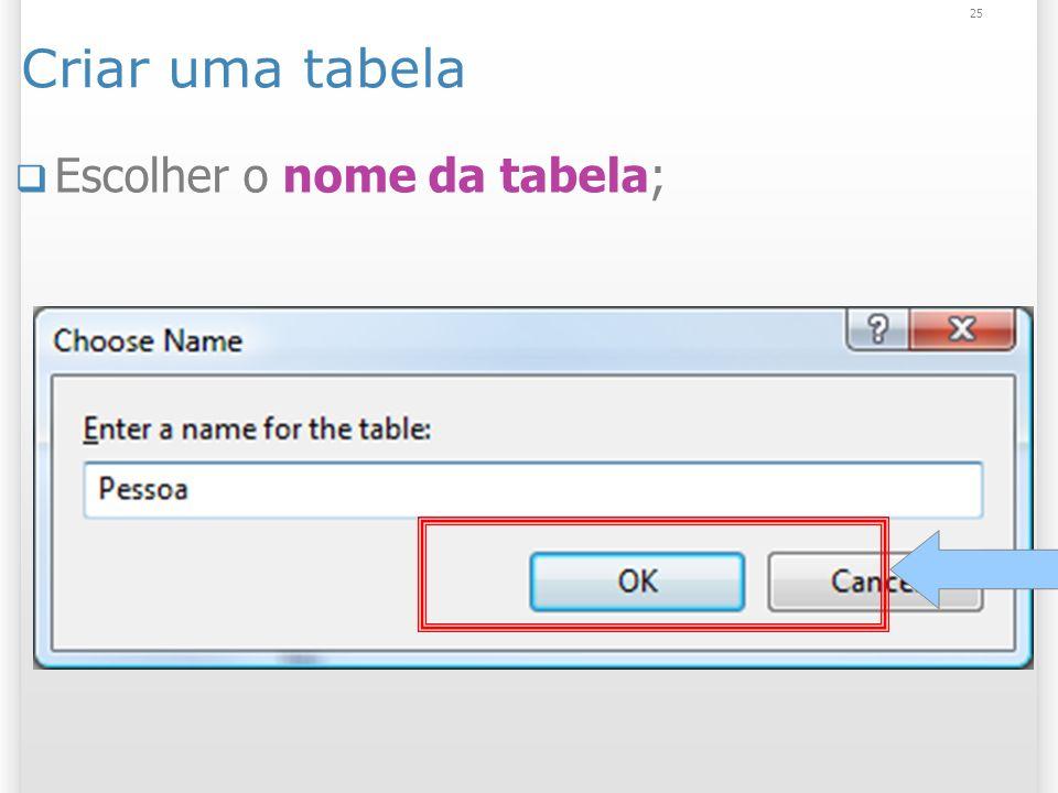 Criar uma tabela Escolher o nome da tabela; 25