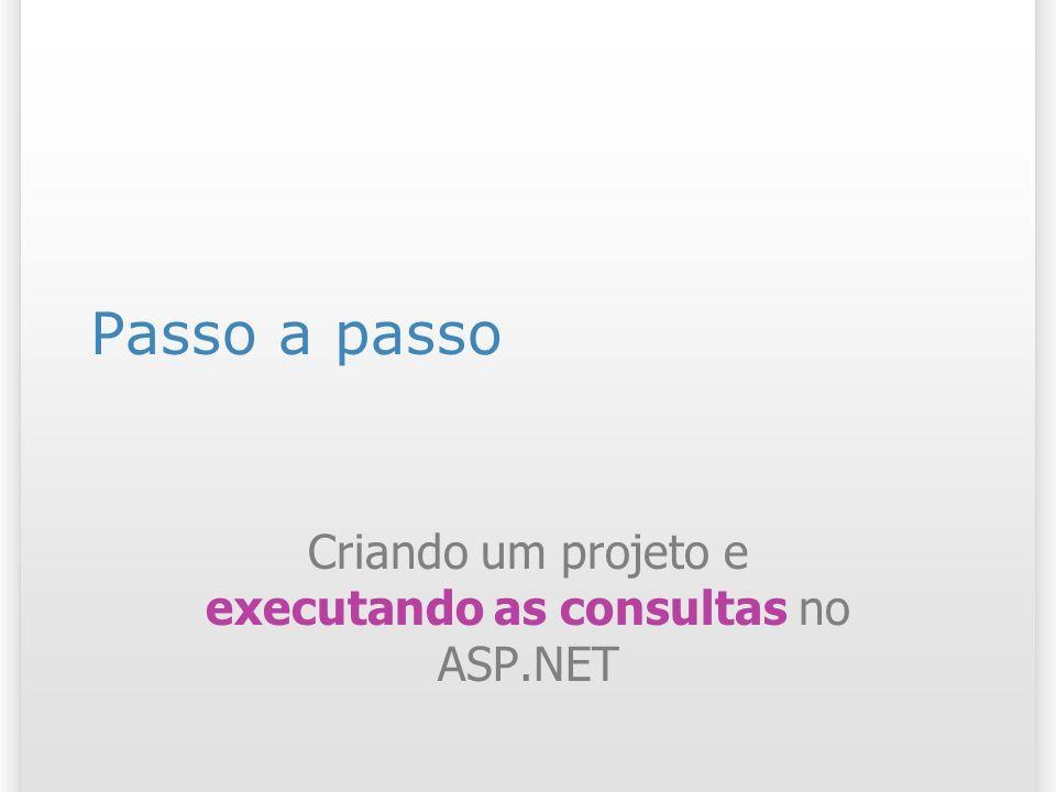 Passo a passo Criando um projeto e executando as consultas no ASP.NET