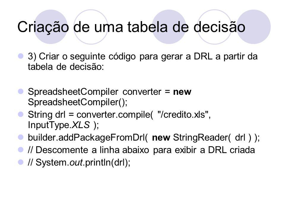 Criação de uma tabela de decisão 3) Criar o seguinte código para gerar a DRL a partir da tabela de decisão: SpreadsheetCompiler converter = new Spread