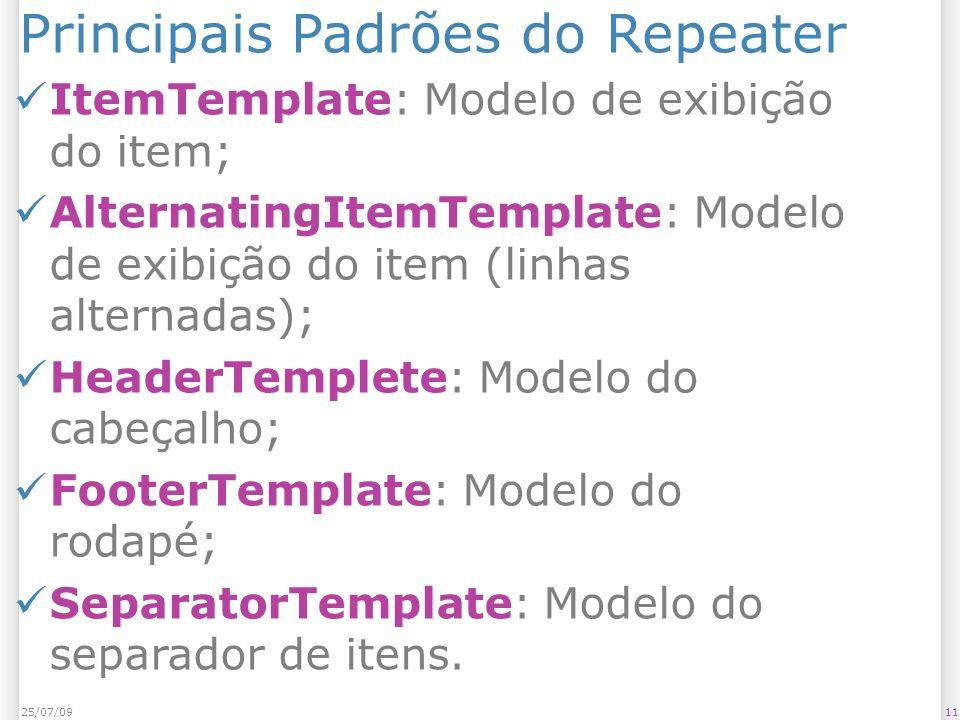 Principais Padrões do Repeater ItemTemplate: Modelo de exibição do item; AlternatingItemTemplate: Modelo de exibição do item (linhas alternadas); HeaderTemplete: Modelo do cabeçalho; FooterTemplate: Modelo do rodapé; SeparatorTemplate: Modelo do separador de itens.