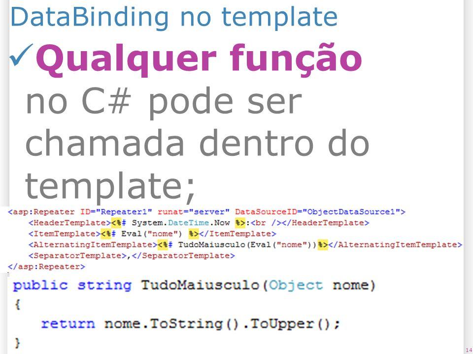 DataBinding no template 1425/07/09 Qualquer função no C# pode ser chamada dentro do template;