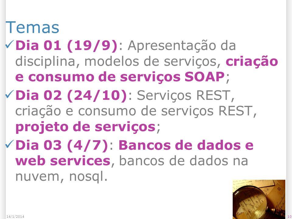 Temas Dia 01 (19/9): Apresentação da disciplina, modelos de serviços, criação e consumo de serviços SOAP; Dia 02 (24/10): Serviços REST, criação e consumo de serviços REST, projeto de serviços; Dia 03 (4/7): Bancos de dados e web services, bancos de dados na nuvem, nosql.