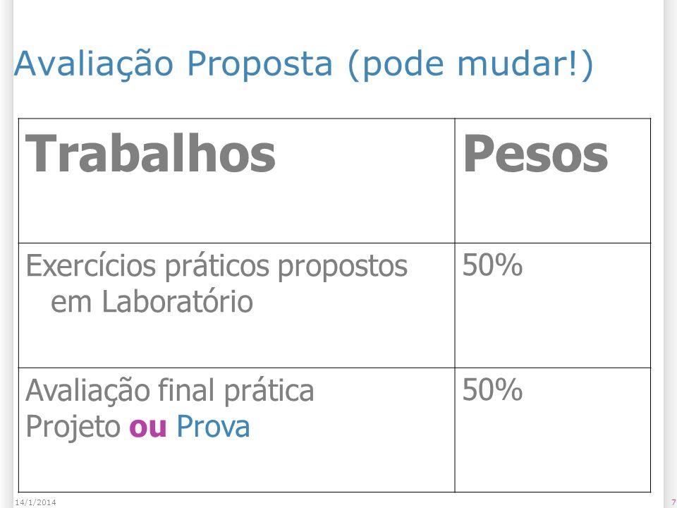 714/1/2014 Avaliação Proposta (pode mudar!) TrabalhosPesos Exercícios práticos propostos em Laboratório 50% Avaliação final prática Projeto ou Prova 50%
