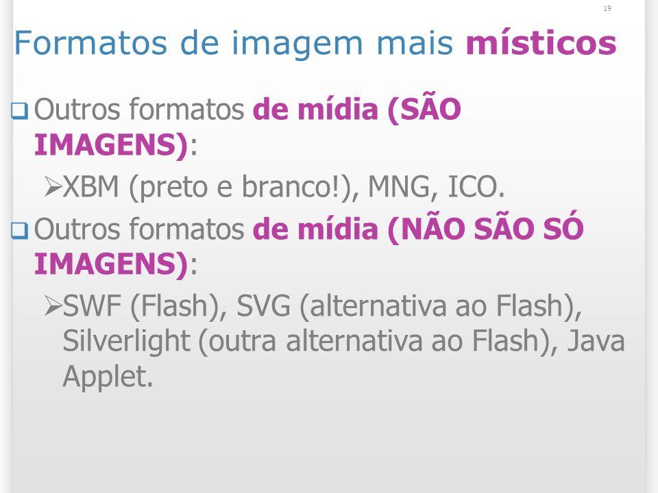 19 Formatos de imagem mais místicos Outros formatos de mídia (SÃO IMAGENS): XBM (preto e branco!), MNG, ICO. Outros formatos de mídia (NÃO SÃO SÓ IMAG