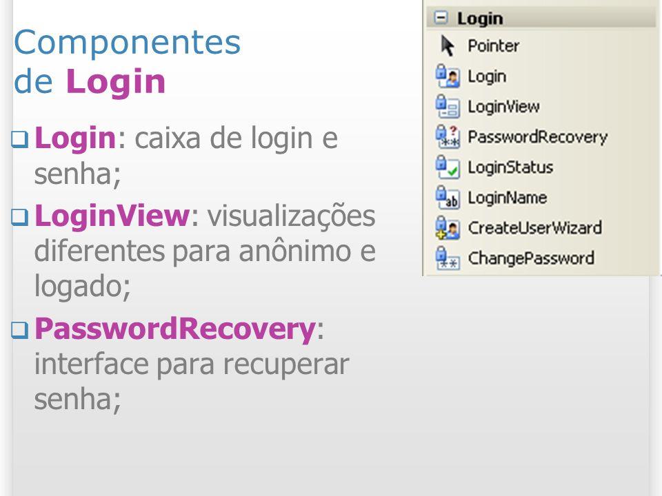 Componentes de Login LoginStatus: link de login/logout; LoginName: nome do usuário logado; CreateUserWizard: cria usuário; ChangePassword: troca de senha.