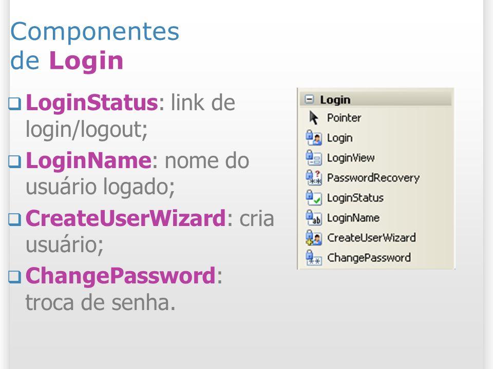 Componentes de Login LoginStatus: link de login/logout; LoginName: nome do usuário logado; CreateUserWizard: cria usuário; ChangePassword: troca de se