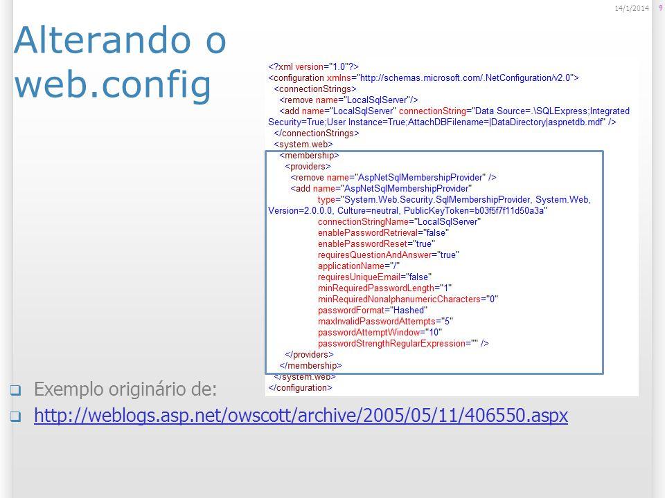Mais detalhes e passo a passo Relacionado a Login e Autenticação, verifique o resumo abaixo: http://www.brunocampagnolo.com/2009_1/aspnet/login/ Excelente artigo sobre customização do Membership: http://www.aspneti.com.br/Customizando+o+Membership +e+Role+Provider+344,0.aspx http://www.aspneti.com.br/Customizando+o+Membership +e+Role+Provider+344,0.aspx Sobre alteração de propriedades do Membership no web.config: http://weblogs.asp.net/owscott/archive/2005/05/11/4065 50.aspx http://weblogs.asp.net/owscott/archive/2005/05/11/4065 50.aspx