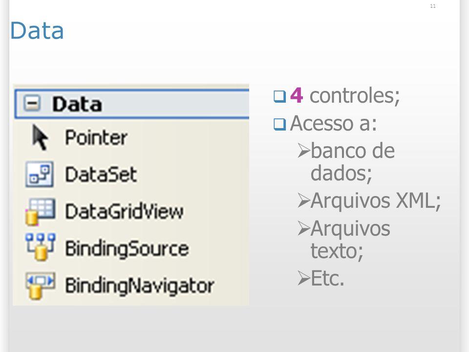 11 Data 4 controles; Acesso a: banco de dados; Arquivos XML; Arquivos texto; Etc.