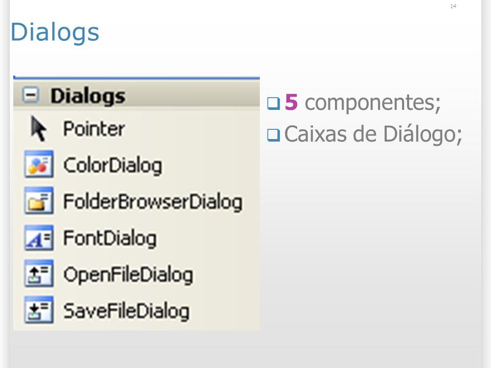 14 Dialogs 5 componentes; Caixas de Diálogo;