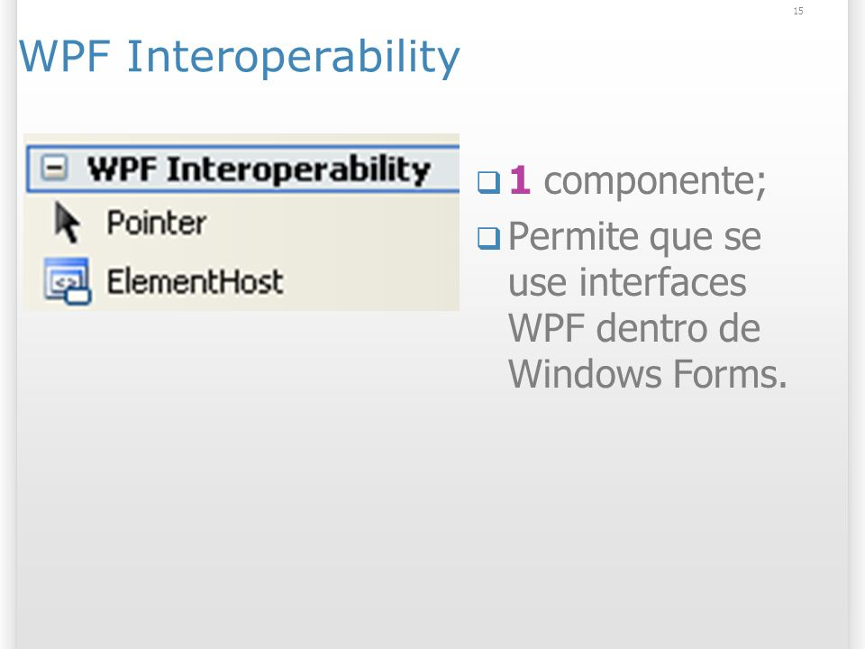 15 WPF Interoperability 1 componente; Permite que se use interfaces WPF dentro de Windows Forms.